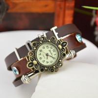 New Hot Fashion Retro Ladies Quartz Analog Rivet Brown Leather Cow Hand-Woven Bracelet Watch GZ13790 Christmas Gifts
