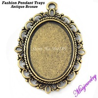 Wholesale Fashion Blank Pendant Settings Jewelry Findings 500PCS/Lot  Antique Bronze 39*27MM Alloy Pendants For Necklaces Making
