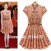 summer  dress Fashion women's deress slim elastic waist  V-neck ruffle sleeve one-piece dress new style free shipping