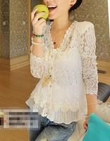 Free shipping! Spring and Fall 2014 Skinny Shoulder Pad Precious Mosaic Lace Shirt Cardigan Sunscreen Shirt