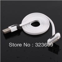 100cm USB Data Sync Charger flat Cable for iPhone 3G 4 4G 4S 4GS iPod Nano Touch 01 free shipping