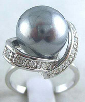 black multicolor shell pearl ring size 6 7 8 9