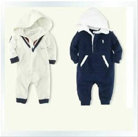 2014 polo Baby Clothing baby romper boys jumpsuits kids hooded Long sleeve chothing 3pieces/lot