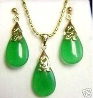 Jewelry green jade pendant necklace earring set