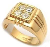 18K gold plated man's Italian CZ designer style ring