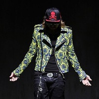 Fashion punk men's clothing novelty blazer HARAJUKU male casual fancy suit slim outerwear
