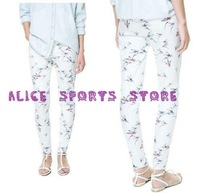 2013 New Autumn Fashin Lady Pretty Birds Print Cotton Blends Casual Long Pants Brand Elegant Women Slim Trousers