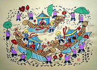 Chinese Spring Festival, folk custom. China Shaanxi peasant paintings, hotel and home furnishing decoration painting.