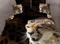 New Beautiful 4PC 100% Cotton Comforter Duvet Doona Cover Sets FULL / QUEEN / KING SIZE bedding set 4pcs Cheetah