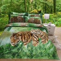 New Beautiful 4PC 100% Cotton Comforter Duvet Doona Cover Sets FULL / QUEEN / KING SIZE bedding set 4pcs green tiger