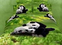 New Beautiful 4PC 100% Cotton Comforter Duvet Doona Cover Sets FULL / QUEEN / KING SIZE bedding set 4pcs green panda