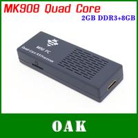 Free Shipping - New MK908 Quad Core Android TV Box Mini PC RK3188 1.8Ghz 2GB DDR3+8GB Build in Bluetooth 1080P DLNA HDMI