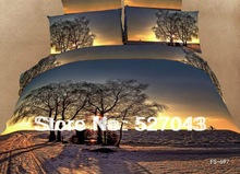 Dusk Tree 3D Oil Painting Print 4pcs Bedding Sets/Comforter sets/Bed sets/Duvet Covers/Bedclothes Full/Queen Size,PDN-14(China (Mainland))