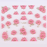 24 Designs Fuchia & Gold Metal Nail Art 3D Sticker for Natural / False Nails TJ Series Free Shipping