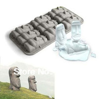 2pcs free shipping Creative silicone ice tray mold Easter stone ice mold chocolate mould/candy old/cake decoration Random Colour