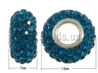 Free shipping!!!Brass European Beads,christmas, with Clay & Rhinestone, Rond, platinum color plated