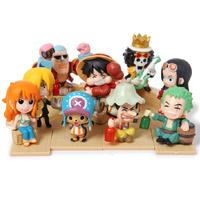 9 pcs One Piece cute Chopper anime figures pvc toys