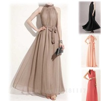 GOOD WOMEN'S BOUTIQUE LOTUS LEAF STANDING COLLAR ELEGANT CHIFFON DRESS WITH LACING THE SAME PARAGRAPH WF-44336