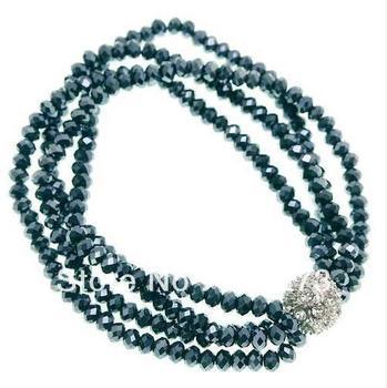 Charming Crystal Jewelry Midnight Blue Crystal Beads 4-Strand Sparkle Ball Stretch Bracelet 4x6mm 8'' Handmade New Free Shipping
