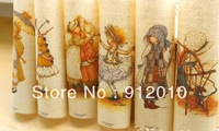 10PC 20*30cm British country girl Hand Painting Dyeing Natural Cotton Linen Canvas Handmade DIY Patchwork Fabric Mix Order
