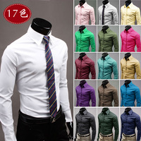 Free Shipping 2013 New Men's Shirts,Casual Slim Fit Stylish Dress Shirts plain and simple Candy 17 Color:M-XXXL