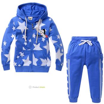stars print boys sports suits 2pcs top jacket coat + pants children autumn clothing sets kids sweatshirt suits
