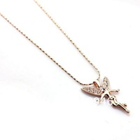 Free Shipping Wholesale-2013 new Women/girl Fashion Jewelry 18K gold Alloy plated the lovely figure pendant Nacklace