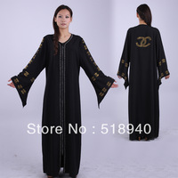 muslim abayas,islamic robes muslim clothing free shipping Women's big fashion end of a single clothing  zipper open front