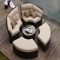 new model outdoor rattan furniture wicker round sunbed PF-5061