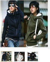 Free Shipping+Wholesale 4 color Simple and Comfortable High Collar Special Long Sleeves Design Fleeces Hood Coat For Women Coat