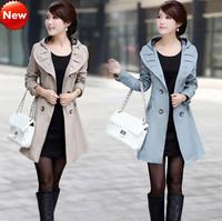 FreeShipping[Wholesale&Retail]Guaranteed 100% Autumn/Winter 2015 Fashion Women's Cotton Lace Trench Coat Plus Size Windbreakers
