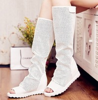 2013 women's shoes breathable hole shoes elevator cutout wedges boots open toe boots ankle boots summer
