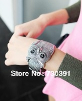 Free shipping Fashion Charm Exaggerate Big Eyes Silvery Owl Bangle Bracelet Can Open