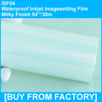 "High Quality Waterproof  PET Inkjet Printing Film Milky Finish 54""*30m"