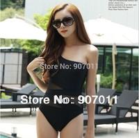 2013 new shoulder swimsuit fashion swimwear fashion female Siamese hollow mesh black bikini Free Shipping DST-247