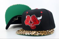 Hot Sale Chicago strapback Adjustable Baseball caps with leapord Leather visor Embroidery on front Free Shipping Mix order