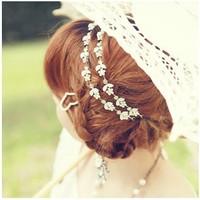Free shipping,Min order 15$ (Mixed order) Popular Elegant Lovely Leaf Flower Petal Rhinestone Lady Elastic Hair Band Headwear