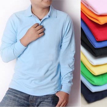 Blank T-shirt turn-down collar polo shirt work wear printing print embroidered long-sleeve polo shirt customize