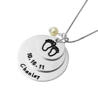 Custom Sterling Silver Engraving Pendant Name Necklace