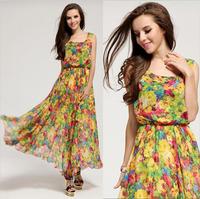 Cheap fashion bohemian beach maxi long dresses flower print women summer dress 2014 autumn casual chiffon dress XXL PLUS SIZE