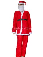 Free Shipping 5Pcs Men Adult One-off Christmas Santa Claus Clothes