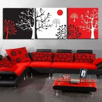 3p MODERN ABSTRACT WALL ART OIL PAINTING ON CANVAS:DIFFERENT TREES (NO FRAME)