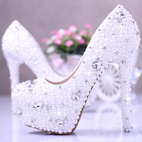 Elegant genuine leather white crystal wedding shoes bridal shoes women pumps high heels sapatos shoes platform ladies shoes