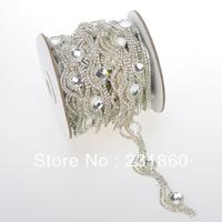 1 Yard Clear Rhinestone Crystal Silver Applique Chain Bridal Dress Costume Trim