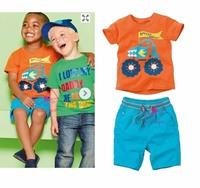 Free Shipping 2013 new style fashion kids casual clothes child car orange cotton t shirt + blue shorts 2pcs set summer boy wear