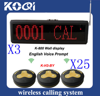 reliable quality Wireless Paging System w 3pcs K-800 receiver + 25pcs 3-press H3-BY Table Button english voice prompt