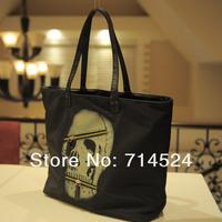 FREE SHIPPING ! 2 in 1, 2013 NEW sexy Cool skull printed black bags,Fashiong Woman casual shoulder big handbag,retail  wholesale