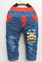2013 new autumn paragraph cartoon cowboy boy pants in soft sand children denim trousers Free Shipping