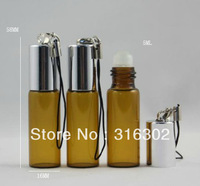 Free shipping - 200 x  5ml amber glass roll on bottle with mobile string,amber glass roll-on bottle with aluminum cap