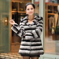 Luxury 2013 Genuine Fur Rex Rabbit Hair Long Designer Hooded Fur Coat Outwear 3XL Free Shipping